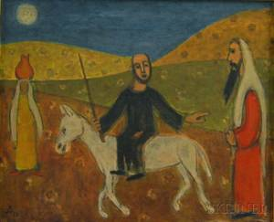 Israeli School 20th Century Biblical Scene with a Man on Horseback with Two Figures in a Desert Landscape