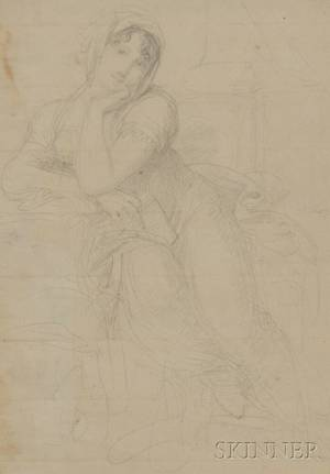Continental School 19th Century Sketch of a Seated Woman