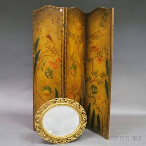 Victorian Painted Threepanel Screen and a Gilt Mirror