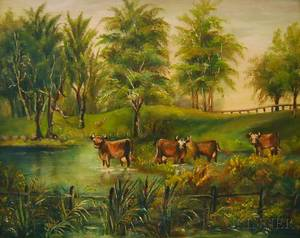 American School 19th Century Summer Landscape with Cows in a Stream