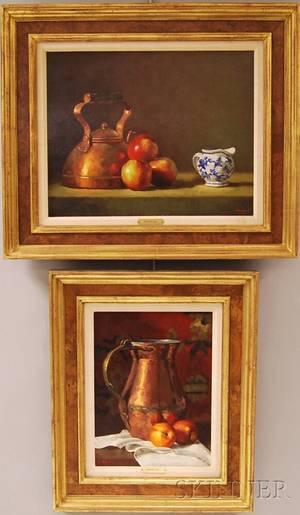 Gregory Stewart Hull American b 1950 Two Works Still Life with Copper Tea Kettle