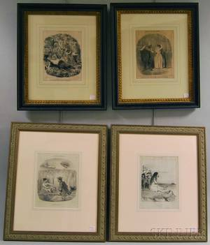 Four Framed Lithographs After Honore Daumier French 18081879