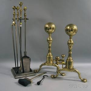 Pair of Large Brass Balltop Andirons Five Fireplace Tools and a Tool Stand