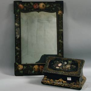 Motherofpearlinlaid and Gilt Lacquer Jewelry Box and Mirror