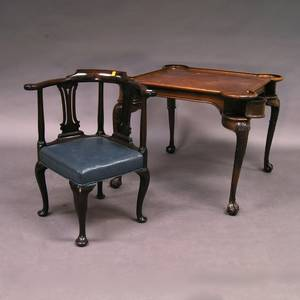 Queen Annestyle Mahogany Roundabout Chair and a Georgianstyle Walnut Game Table