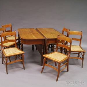 Twopart Federal Cherry Banquet Table and a Set of Six Classical Maple Side Chairs
