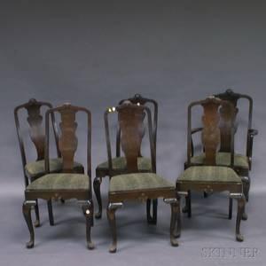 Set of Six John Raab Queen Annestyle Burl Veneer Dining Chairs