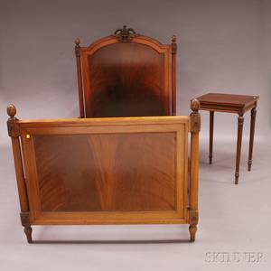 Neoclassicalstyle Mahogany Single Bed and Nightstand