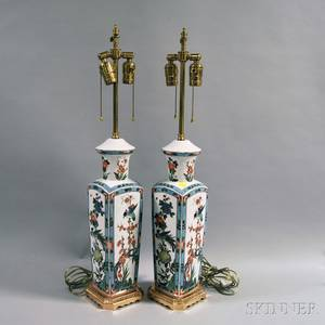 Pair of Asiantype Polychrome Porcelain and Giltmetal Lamps