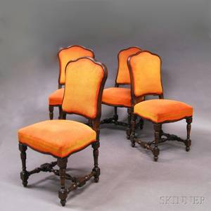 Set of Four Orangeupholstered Side Chairs