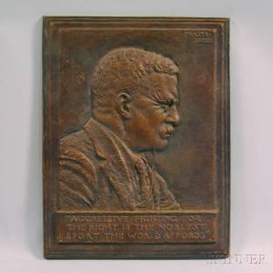 James Fraser 18761953 Bronze Profile Portrait Plaque of President Theodore Roosevelt