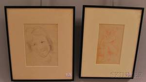 Robert Genin American 18841939 Two Framed Figurative Drawings Seated Nude