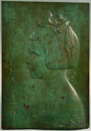 James Earle Fraser American 18761953 Bronze Profile Portrait Plaque of Priscilla