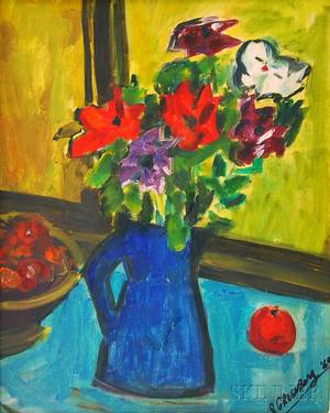 Samuel Greenburg American 19051980 Still Life with Flowers in a Pitcher