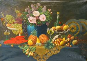 Joseph Becker American 18401910 Still Life with Lobster and Fruit