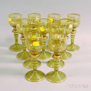 Set of Eleven Colored Glass Wines