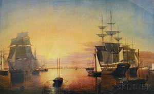 Framed Reproduction Print After Fitz Henry Lane American 18041865 Boston Harbor