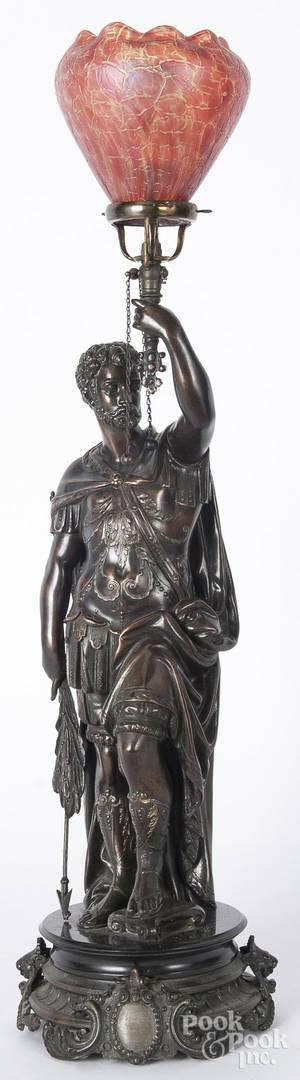 Bronze cavalier figural gas lamp