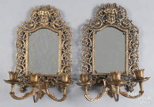 Pair of Bradley and Hubbard brass wall sconces