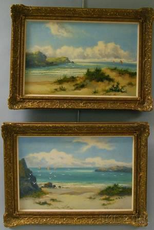 William Langley British fl 18801920 Two Works Coastal Views North Wales
