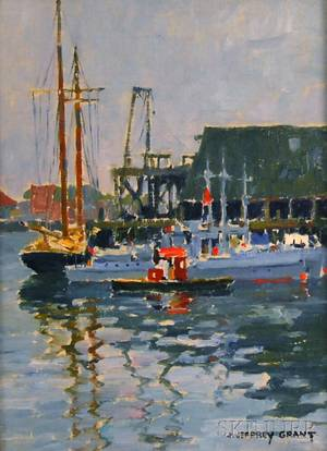 James Jeffrey Grant American 18831960 Boats at Dock Gloucester Massachusetts