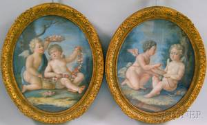 Continental School 19th Century Pair of Oval Framed Cupids