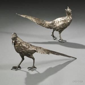Two German 800 Silver Figures of Pheasants