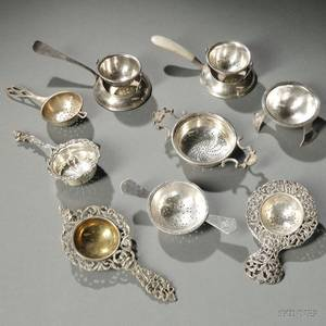 Eight American English and European Silver Tea Strainers