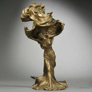 After FrancoisRaoul Larche French 18601912 Giltbronze Figure of Loie Fuller