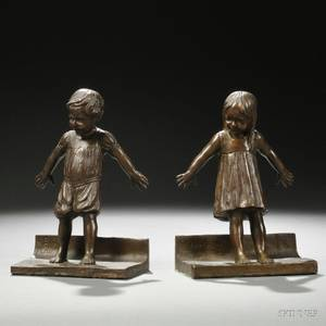 Abastenia St Leger Eberle American 18781942 Pair of Figural Bronze Bookends
