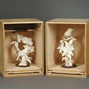 Pair of Royal Worcester Porcelain Hooded Warblers and Cherokee Rose Figures