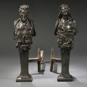 Pair of Figural Bronze Andirons
