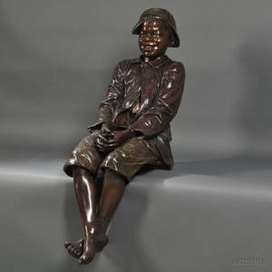 Goldscheider Lifesize Painted Terracotta Figure of a Seated Boy