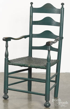 Delaware Valley painted ladderback armchair
