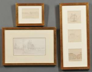 AngloAmerican School 19th20th Century Five Framed Grand Tour Sketches including Paestum Pantheon and Villa Albani