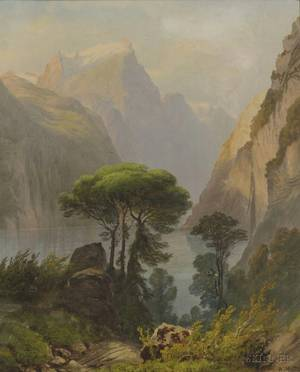 Henri Luc Mottu Swiss 18151859 Mountain Landscape in Summer