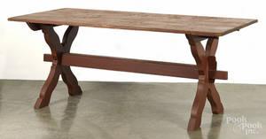 Custom painted pine trestle table