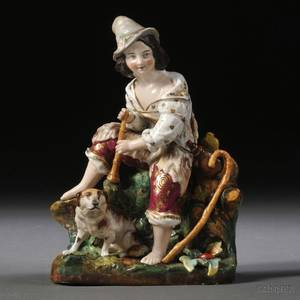 Russian Porcelain Figure of a Shepherd and His Dog