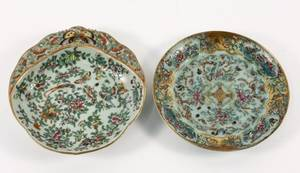 Two Chinese Qing Dynasty Style Celadon Plates