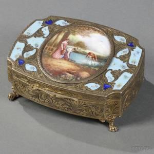 Italian 800 Gilded Silver and Enamel Music Box