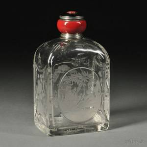 French Baccaratstyle Enameled 950 Silvermounted Cut and Engraved Colorless Glass Cologne in the Chinese Taste
