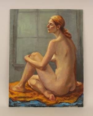 Dorothy Poole Seated Female Nude Oil