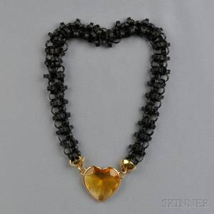 14kt Gold Black Anodized Metal and Citrine Necklace