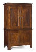 George III mahogany veneered oak twopart linen press