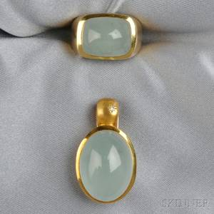 18kt Gold and Aquamarine Ring and Pendant