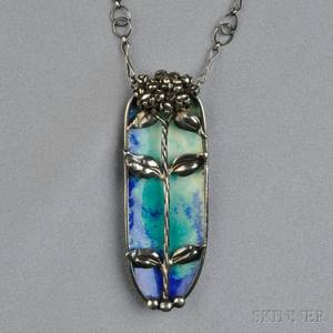 Arts  Crafts Silver and Enamel Pendant Attributed to Edgar Simpson