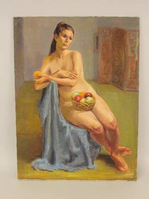 Dorothy Poole Oil on Canvas  Nude with Fruit