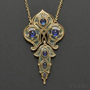 Art Nouveau Gold Sapphire and PliqueaJour Enamel Pendant Marcus  Co