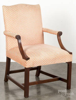 Kittinger Chippendale style mahogany open armchair