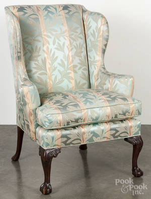 Kittinger Chippendale style mahogany wing chair